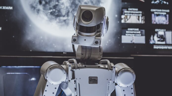 A robot equipped with cameras in the head